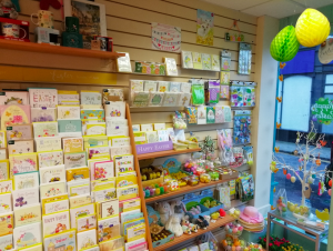 A card display inside Dragonfly Cards and Gifts.