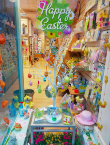 Easter tree in the window of Dragonfly Cards and Gifts.