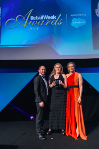 Card Factory's ceo Karren Hubbard (centre) collected the trophy for Best Speciality Award at the Retail Awards 2018 event, that was hosted by Gabby Logan.