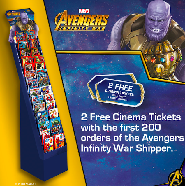A marvel lous 400 cinema ticket giveaway from uk greetings pg buzz the marvel shipper is bound to be popular with retailers m4hsunfo