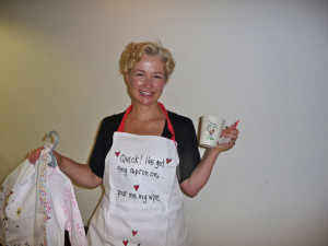 Lucy Heavens, the creator of Juicy Lucy showing off some of the brand's products at a GCA seminar several years ago.