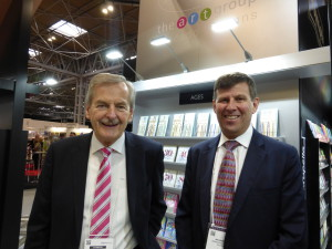 Simon Elvin (left) with Ian Jackson (right) on the Paper Rose stand at the recent Spring Fair.