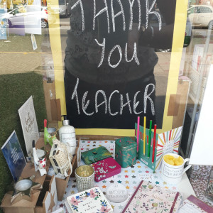 The teacher-themed window in My Favourite Things.