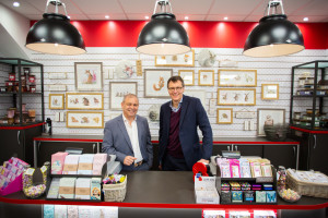 House of Cards' co-owners Nigel Williamson (left) and Miles Robinson in the new look Wallingford store.