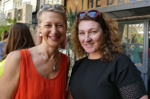 The GCA's ceo Sharon Little (left) with council member, Sarah-Jane Porter of Moonpig at the recent Henries judging.