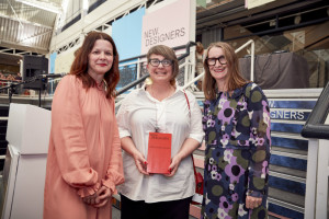 Hallmark's creative director Kelly Jones (left) with designer Orla Kiely (right) presenting the Hallmark award to Ailsa Morrant.
