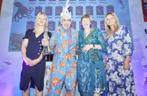Robert and Caroline Petrie of Kairds with Wendy Jones-Blackett, (right) sponsor of the category and host Tania Edwards.