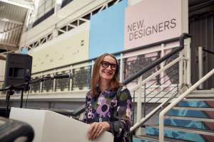 Revered designer Orla Kiely addressing the audience at the awards event on Week One of New Designers.