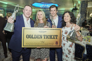 (Right-left) Postmark's co-owners, Leona and Mark Janson-Smith with Wendy Jones-Blackett and David Robertson of JP Pozzi at last July's Retas with their trophies.