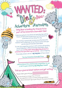 The poster sent out to stockists to promote the My Dinky Bear writing competition.