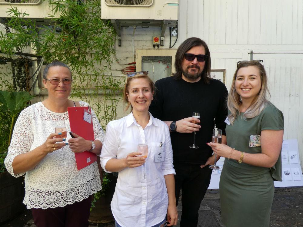 Toasting the finalists after the judging (left-right) Kim Foster (Hawley Garden Centre), Scribbler's Andrew Webb & Sarah Bertram and Natalia Kosterska (Oliver Bonas)
