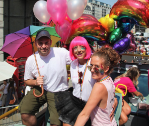 Some of the Moonpig team atop the Above the Stag Theatre double decker in the London Pride parade. Image: Twitter