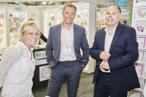 Paul (right) and James Taylor with Georgie Francis of White Cotton Cards at the recent PG Live.