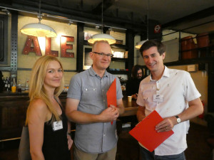 Postmark's Mark Janson-Smith (right) with Set Design's Stuart Delahoy and Melinda Stead at The Henries judging.