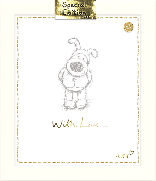 A Special Edition card that has been produced to mark the anniversary. It strongly features the 'Boofle button' that now appears on all the new products.
