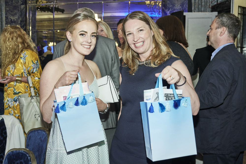 Fenwicks of Newcastle buyers Emma Davies (right) and Abigail Ball with the gorgeous Retas goody bags everyone received.