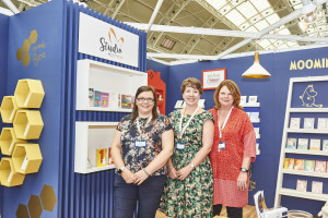 Amanda Parkin (far right) on the company's PG Live stand, that was dedicated to Studio by Gemma with colleagues Lucy Heath (centre) and Tracey Cox.
