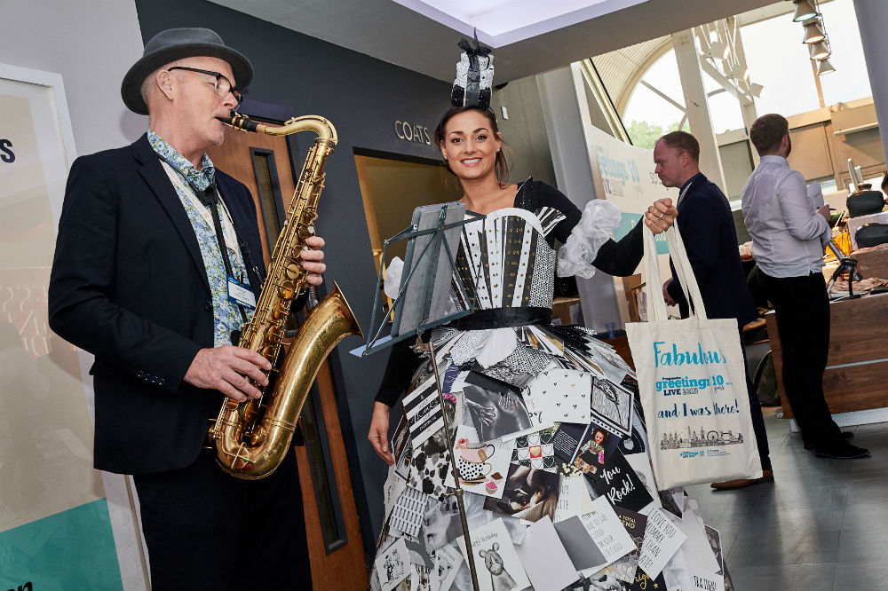 All visitors were greeted by ladies wearing dresses made of the PG Live exhibitors' cards with saxophonist Graeme Airth (formerly of Curiousity Killed The Cat) adding to the 'tone' of the show.