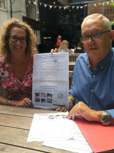 Cardgains' joint md Chris Dyson and marketing director Penny Shaw with a small version of the 'poster' that will be enlarged on the stand at Autumn Fair.