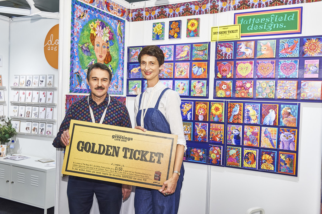 Tim Reynolds at PG Live on the Tattersfield Designs stand with an oversized Golden Ticket that he made himself. He won Best Retail Employee in last year's Retas and the shop is up for an award this year too.