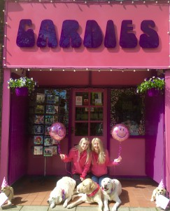 Jo Sorrell with Saturday girl, Poppy with 'meeters and greeters' Daisy, Orberry and Jack, outside Cardies.