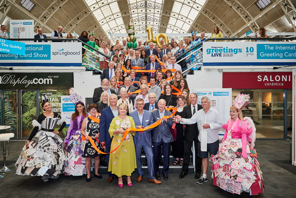 The show was officially opened by a posse of great retailers and overseas distributors. Timothy Melgund, deputy chairman of Paperchase (second right) and John Simson of Melbourne-based Simson Cards (far right) both gave speeches before the ribbon was cut.