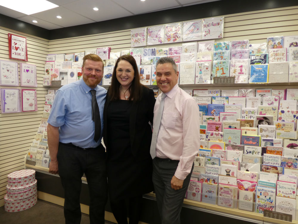 Wallingford store manager Tracey Hunnisell with GBCC's Roy McGranaghan (right) and Paperlink's Ian Harwood.