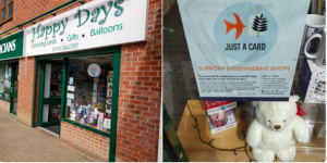 Sheffield retailer, Happy Days is one indie who is now displaying the Just A Card sticker in its window.
