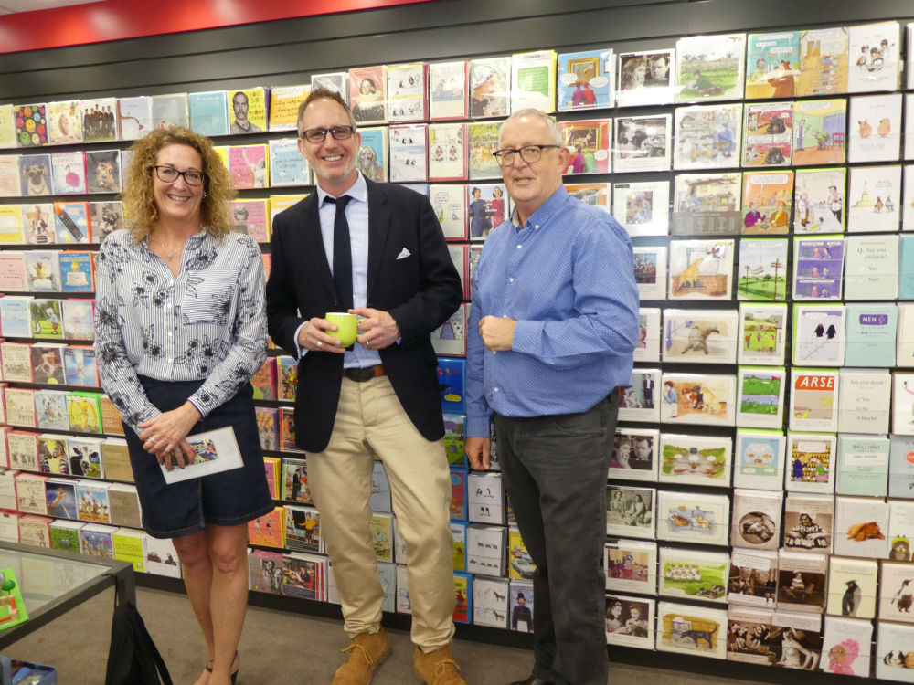 Pigment's Steve Baker (centre) with Cardgains' Chris Dyson and Penny Shaw.