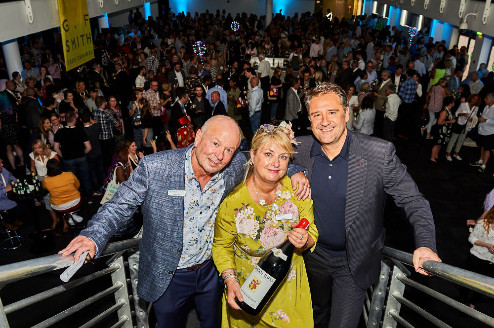 Dominic Jones (far right), ceo of the Business Design Centre paid tribute to the show's 10th anniversary at the Opening Night Party and presented PG Live's Jakki Brown and Warren Lomax with a magnum of 10 year old Barbaresco.