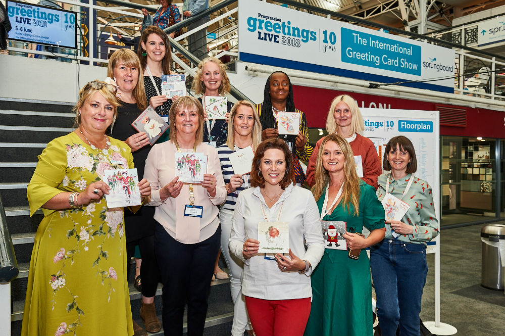 Card publishers who had donated a design for the Action Medical Research Christmas packs this year (organised by Hannah Dale of Wrendale, pictured front centre) met up with other supporters of the initiative at the show.