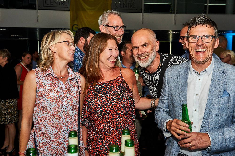 Shiny happy people at the Opening Night Party. (Right-left) Doug Kilby (agent), David Hicks (Really Good/Soul), Ged Mace (The Art File), Jo Bannister (agent) and Maria McKenna (agent).