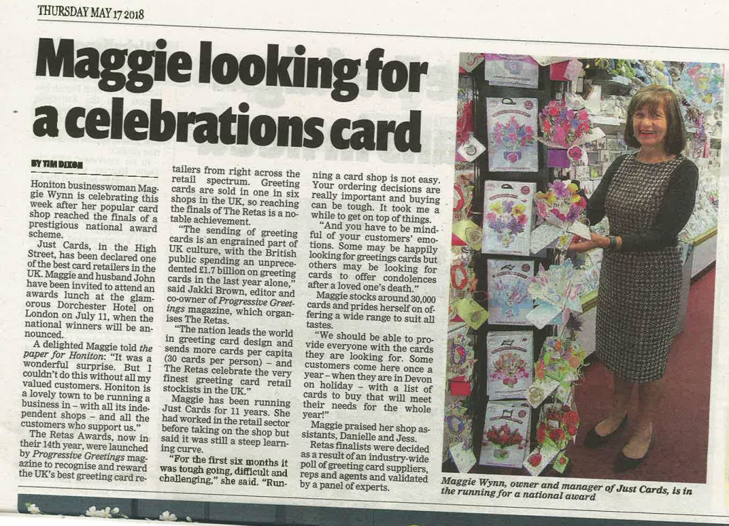 Coverage in the local Honiton press for Just Cards