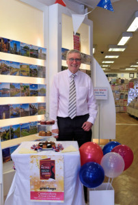 Roger Eames of Celebrations of Stourbridge had a double celebration in the shop – the Royal Wedding and Retas nomination.