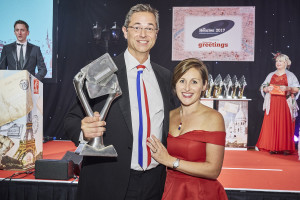 Redback co-founders, Chris and Kate Stanley with The Henries 2017 trophy for Best Humorous Card Range, won by Cloud Nine.