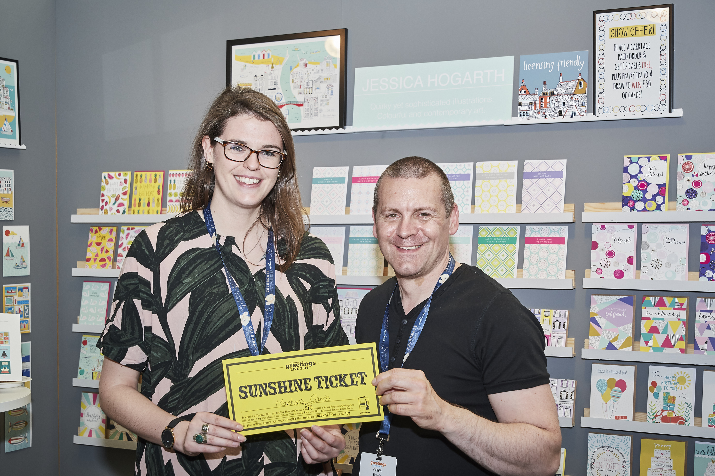 Chris Beards from Mantons Cards hands over his Sunshine ticket to Jessica Hogarth at last year's show.