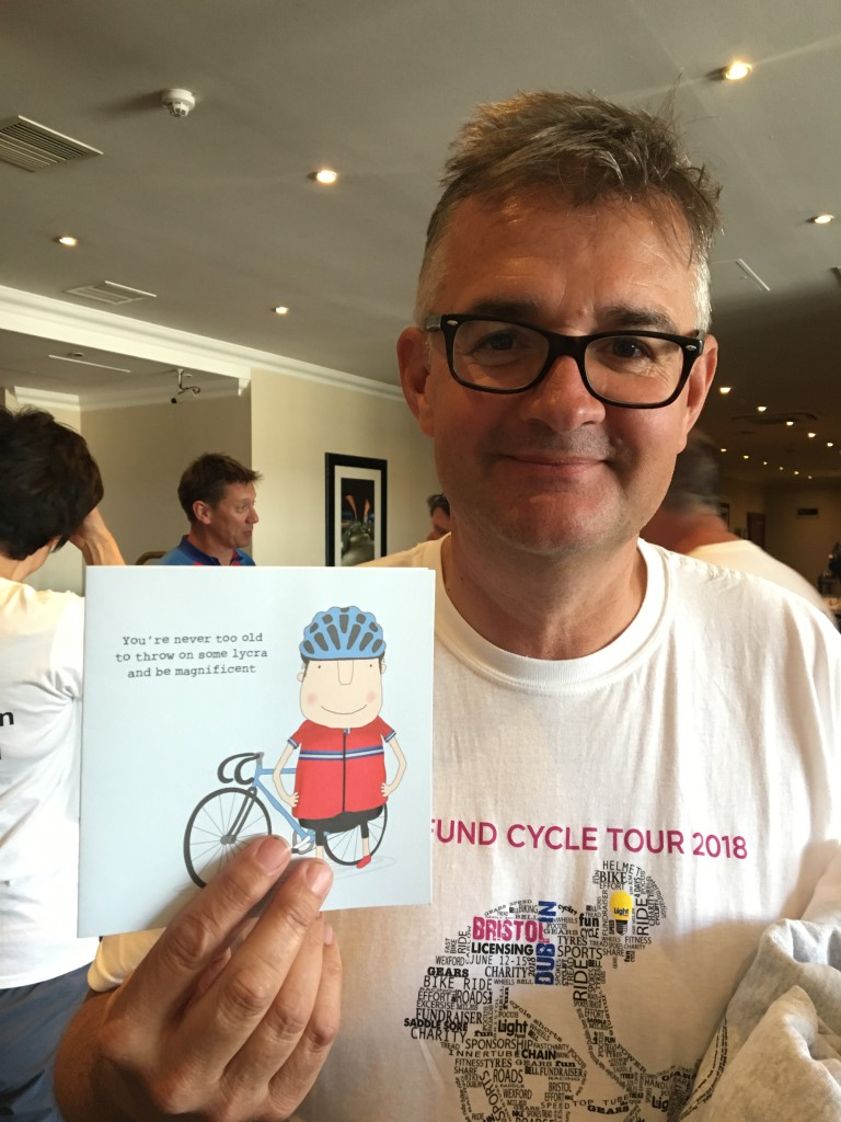 Ian Hyder with a wholly appropriate Rosie Made A Thing card that was given to him on the eve of the ride.