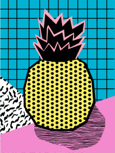 Crazy fruit with a Memphis twist from East End Prints' Wacka collection.