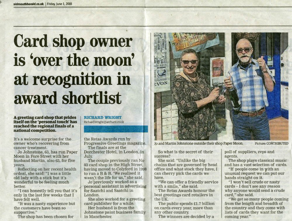 The Paper Moon coverage in the Sidmouth Herald.
