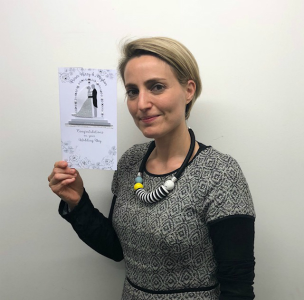 Second Nature's Nicole Schragger with the publisher's card.