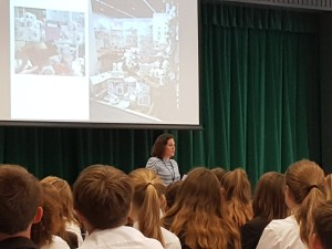Hannah Dale, founder and creative supremo of Wrendale Designs is shown speaking to teenagers at a secondary school in Lincolnshire.