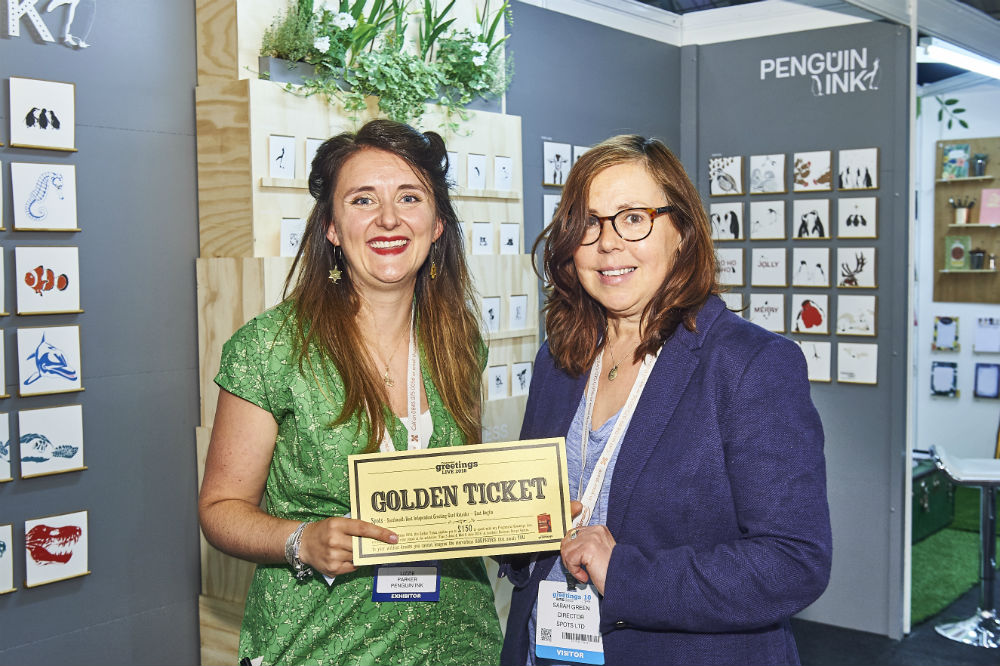 (Right) Sarah Green, co-owner of Spots and Hightide of South Wold and Wave in Bungay was delighted to spend her Retas Golden Ticket with Lizzie Parker of Penguin Ink at PG Live.