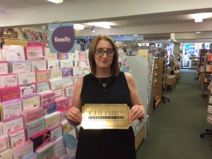 Kirsty Brooks from Guisborough Bookshop with her Golden Ticket from UKG.