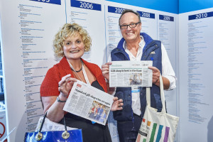Will and Amanda Oscroft at The Retas/Greats drinks reception with clippings from their local papers on Love It's recent Greats Award win.