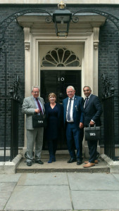 (Right-left) Robert Jarrett (bira's former membership and marketing director), Fiona Cuthbertson (political advisor), Alan Hawkins (bira ceo) and Vin Vara, immediate past president of bira at Downing Street last August.