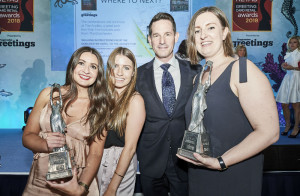 Paperchase's (left-right) Emma Clooney, Lucy Sumner, Scott Corbett and Hazel Walker at The Retas at which the retailer won two awards.