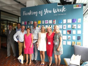 Above: Home and Gift's show director Louise Morris (third left) with members of the GCA Council in front of the Thinking of You Week display at last week's Harrogate Home & Gift.