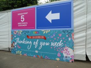 Above: Not easy to miss! The Thinking of You Week banner signposted visitors to the Greetings and Stationery Gallery marquee.