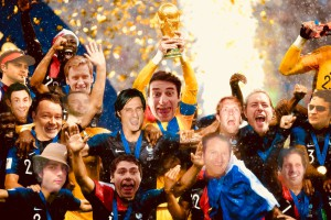 Above: Mark Janson-Smith's football mates created a World Cup-themed card for his recent 40th birthday, placing the Cup in his hand!