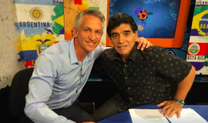 Above: BBC host Gary Lineker appeared as a special guest appearance on Diego Maradona's show La Zurda recently when they recounted the 'Hand of God' goal.